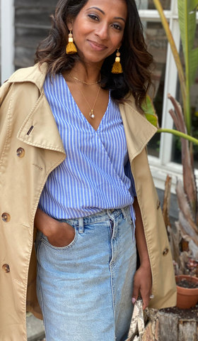 white blue stripes top French - trench coat