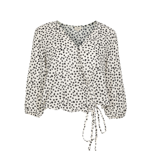 Gaelle Cotton Printed Floral Wrap Top