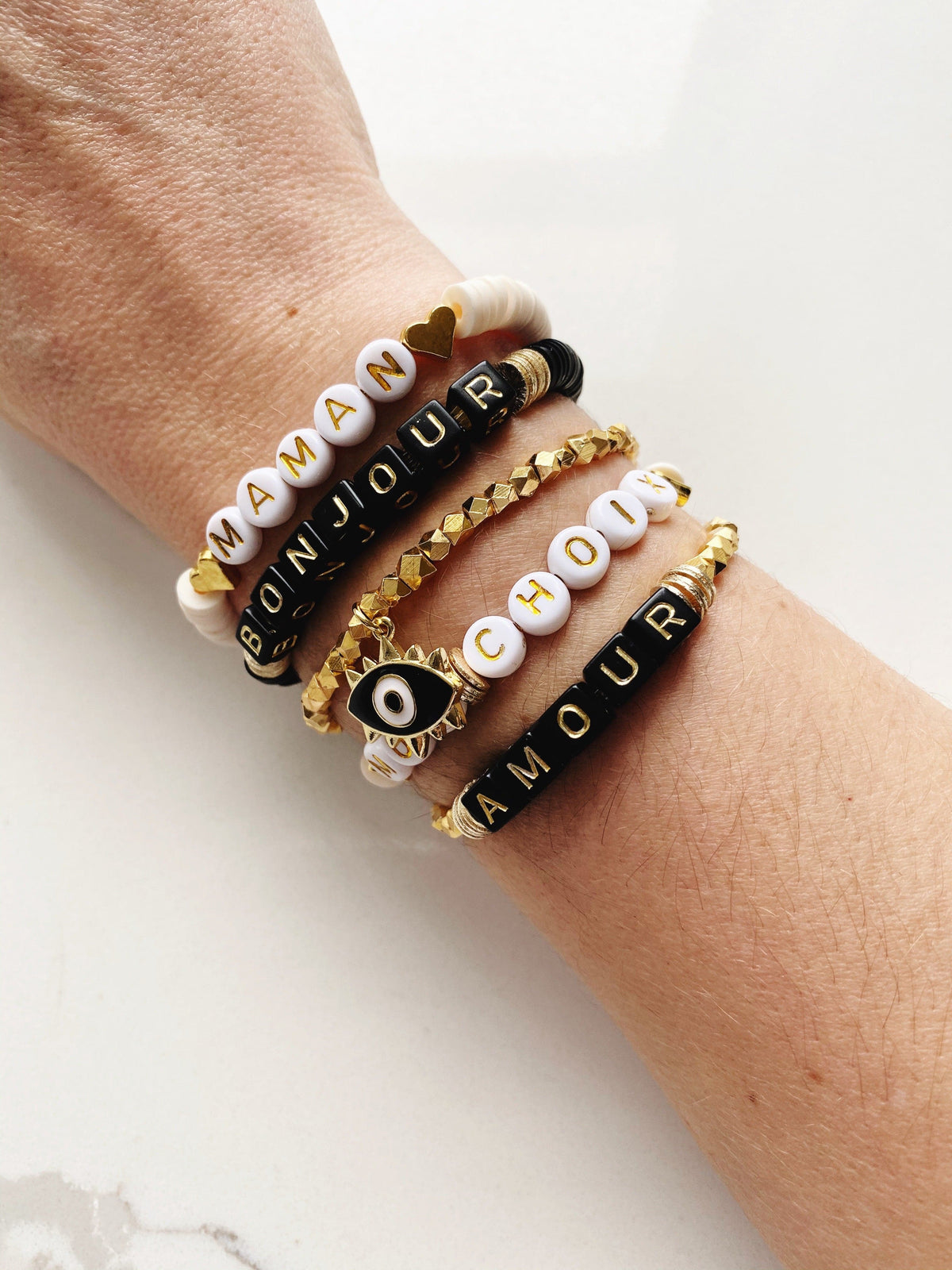 Personalized Beaded Bracelets Black & Gold Letters