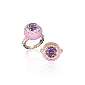 Pink Enamel Ring