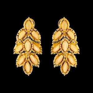 Modern Leaf Motif Earrings In Yellow Gold.