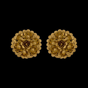 Concave Floral Studs Yellow Gold