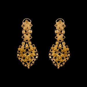 Formal Cutwork Danglers In Yellow Gold.