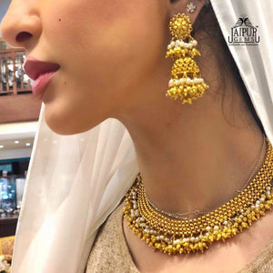 Classic Gold Jhumkas With Pearls