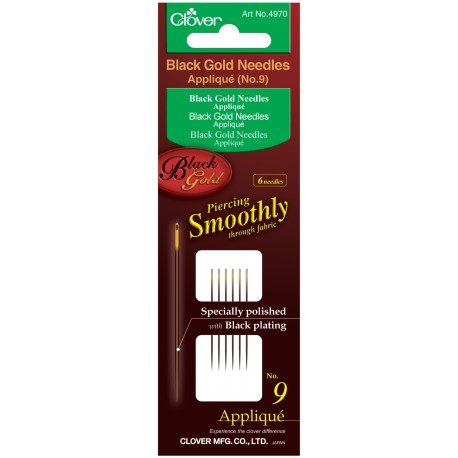 Clover Black & Gold Hand Sewing Needles Applique / Sharps