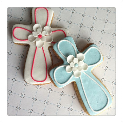 Outlined Floral Cross Cookie Favor