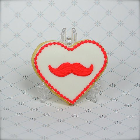Moustache or Lips Heart Cookie Favor