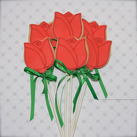 "Long ""Stemmed"" Rose Cookie"