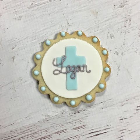 Scalloped Circle Cross Name Plaque Cookie Favor