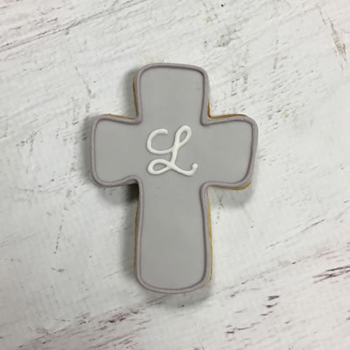 Simple Monogram Cross Cookie Favor