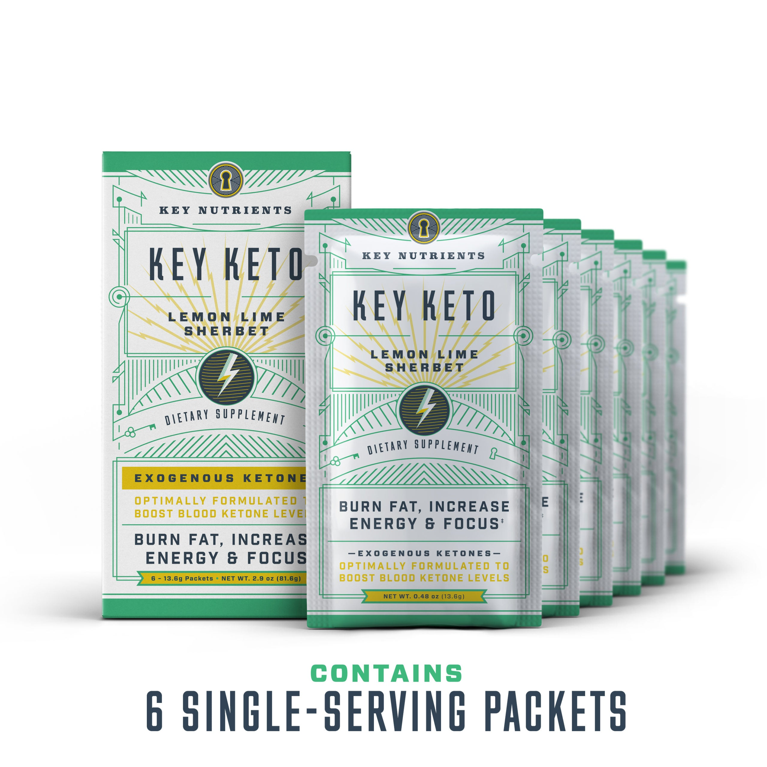 Key Keto - Lemon Lime Sherbet Travel Pouches - 6 Pack