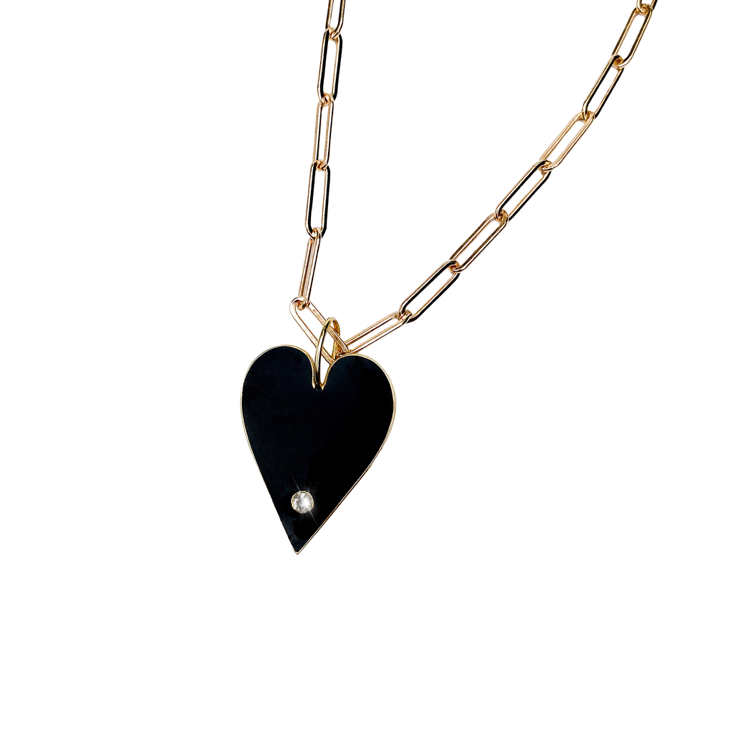 Black Enamel Heart with White Topaz