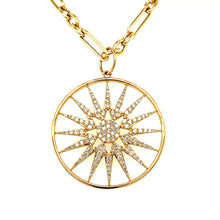 Load and play video in Gallery viewer, 14kg Gold and White Diamond Starburst Pendant