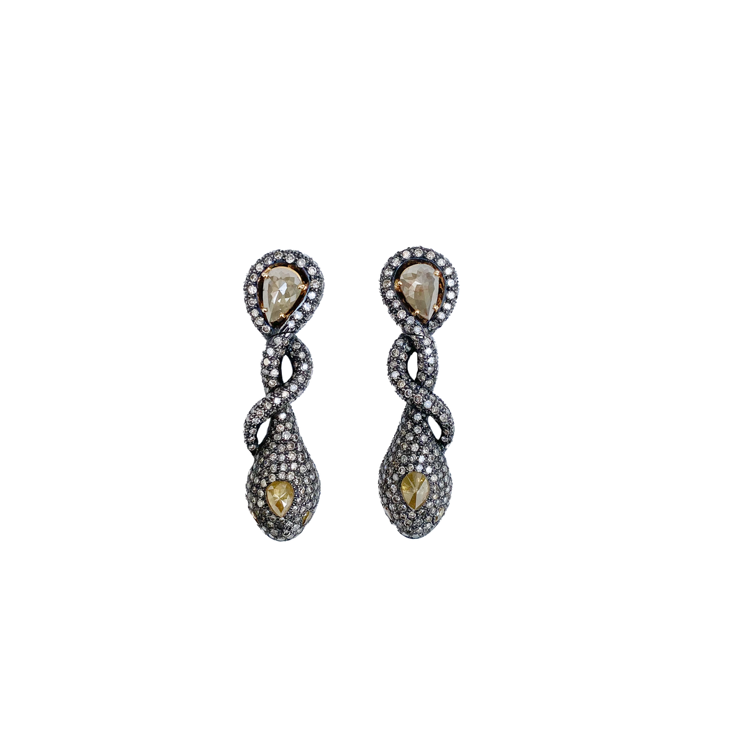 Yellow and White Diamond Drop Earrings