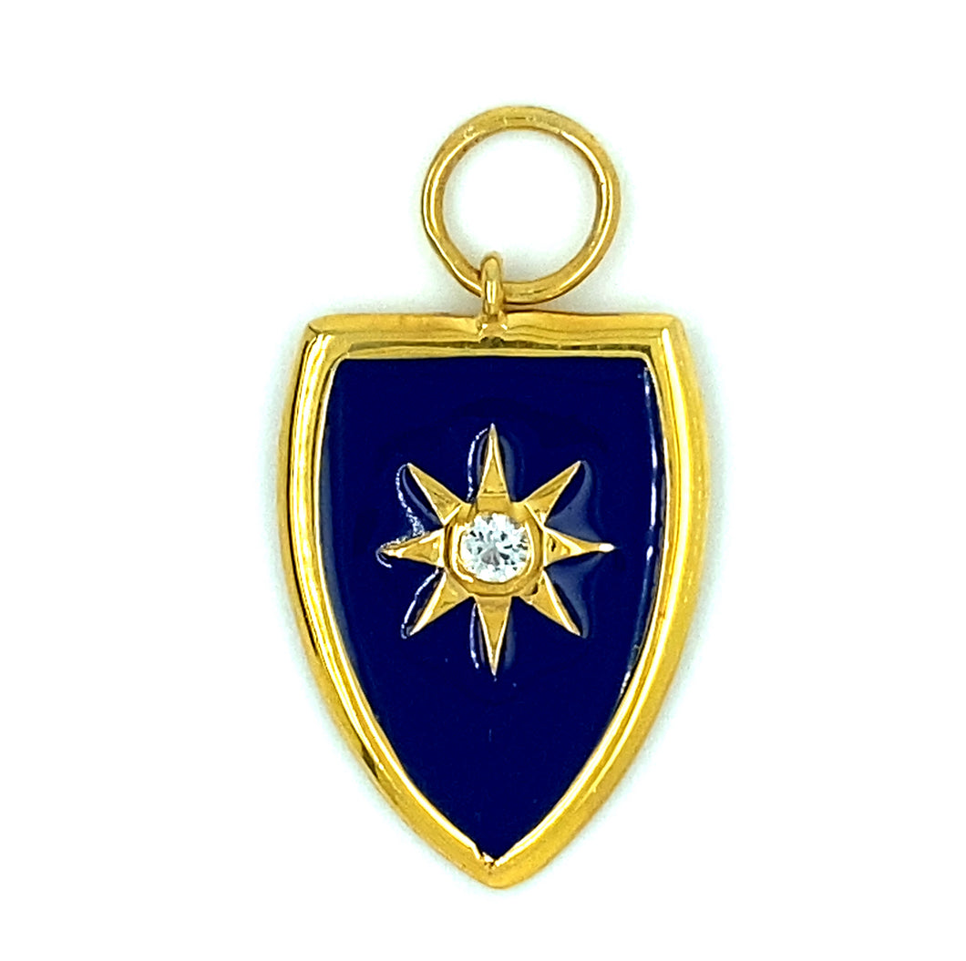 Blue Enamel Gold Shield Pendant