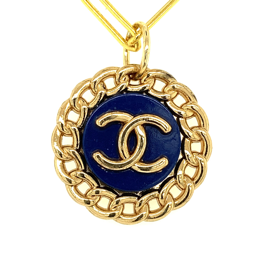 Vintage Navy Chanel Button
