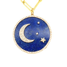 Load image into Gallery viewer, 14kg White Diamond and Blue Lapis Celestial Disc Pendant