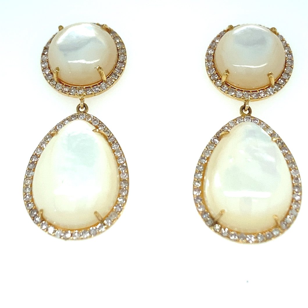 14kg Mother of Pearl and White Diamond Earrings