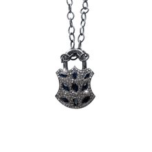 Load image into Gallery viewer, Diamond and Sapphire Lock Necklace