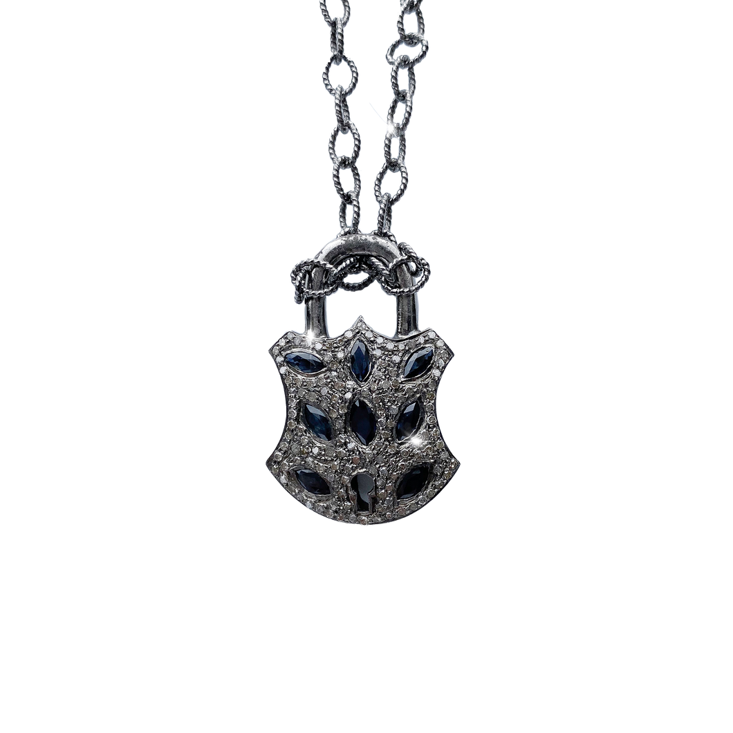 Diamond and Sapphire Lock Necklace
