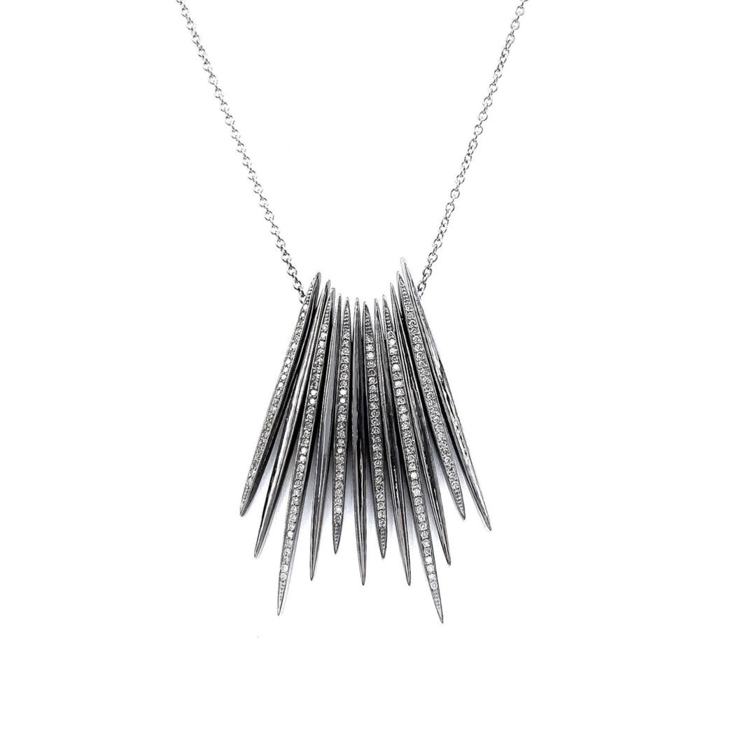 Silver Spike and Diamond Necklace