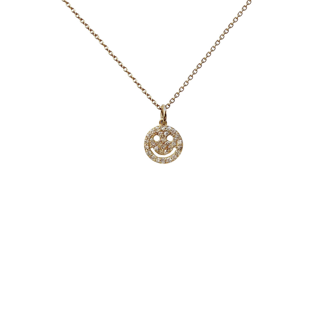 14kg and Diamond Smiley Face Necklace