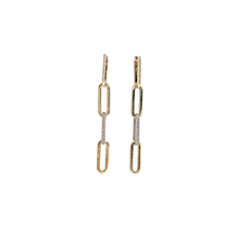 Load image into Gallery viewer, 14kg and Diamond Paperclip Earrings