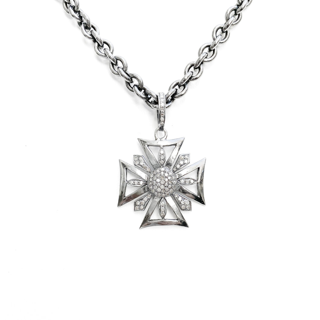 Diamond and Silver Cross Necklace