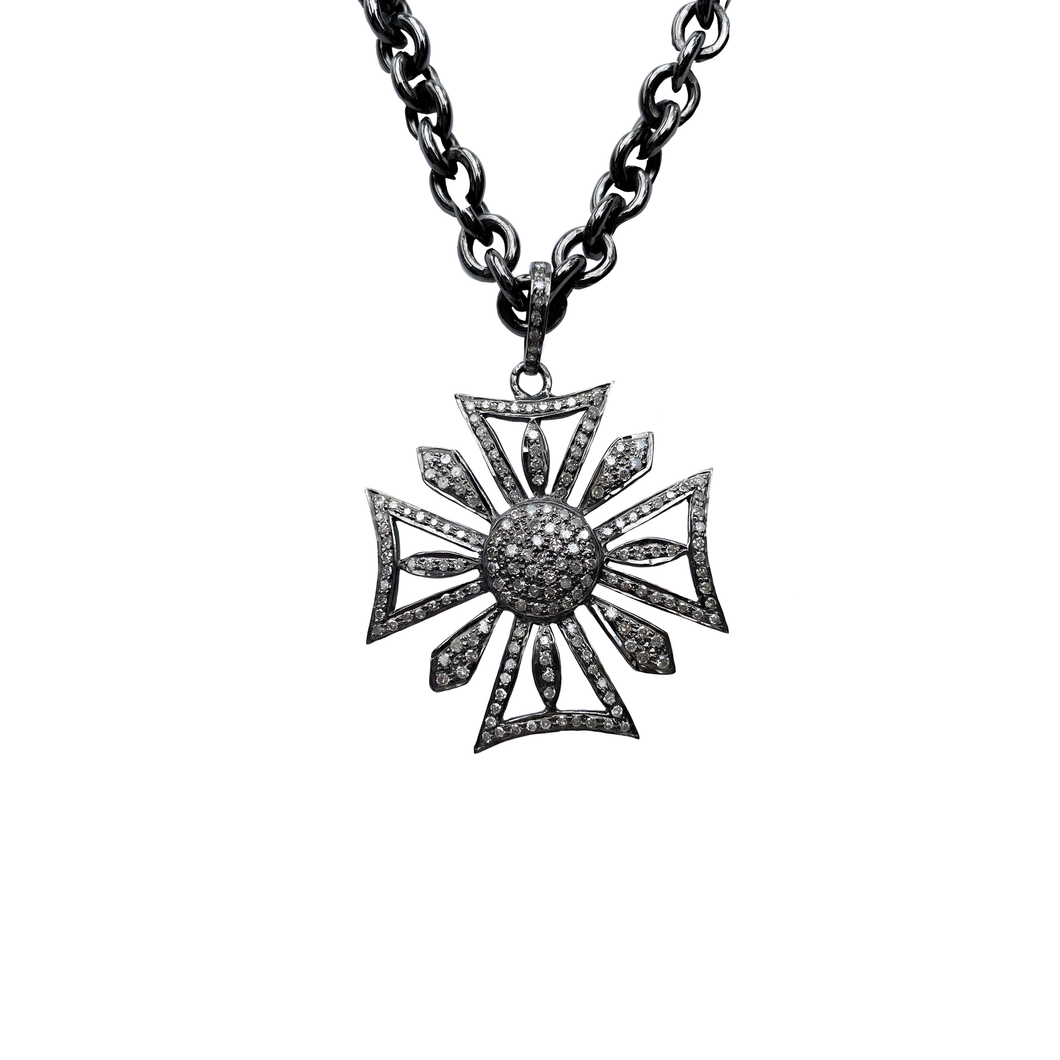 Full Diamond Cross Spike Necklace