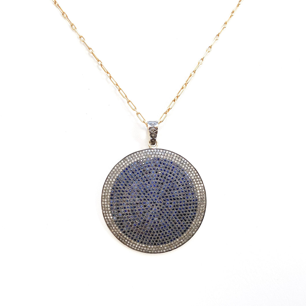 Diamond and Sapphire Disc Necklace