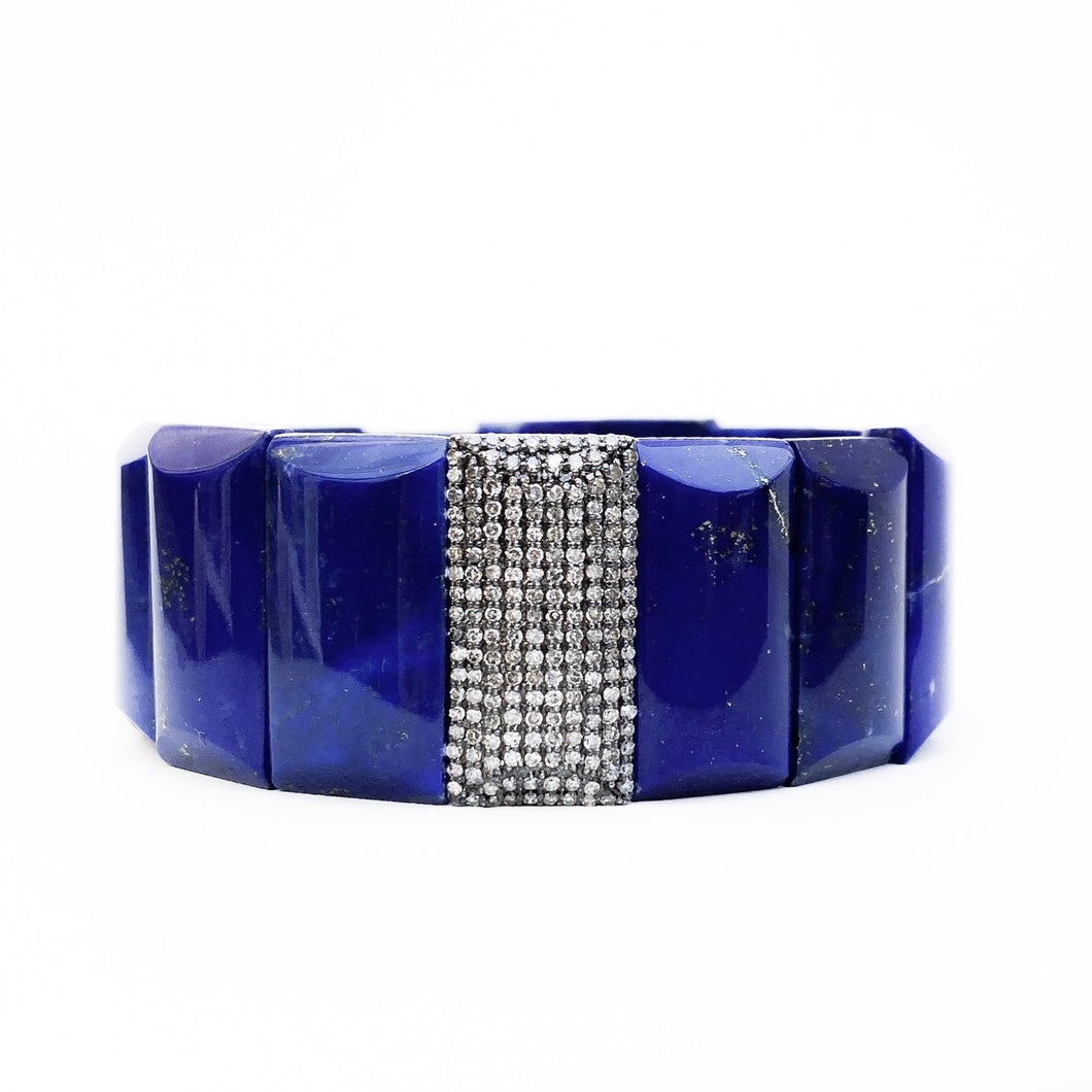 Blue Lapis and Diamond Stretch Bracelet