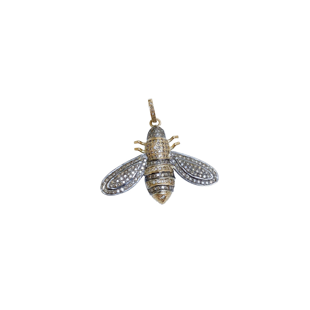 Gold and Silver Bee Pendant Medium