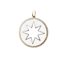 Load image into Gallery viewer, White Enamel, Gold and Diamond Star Pendant