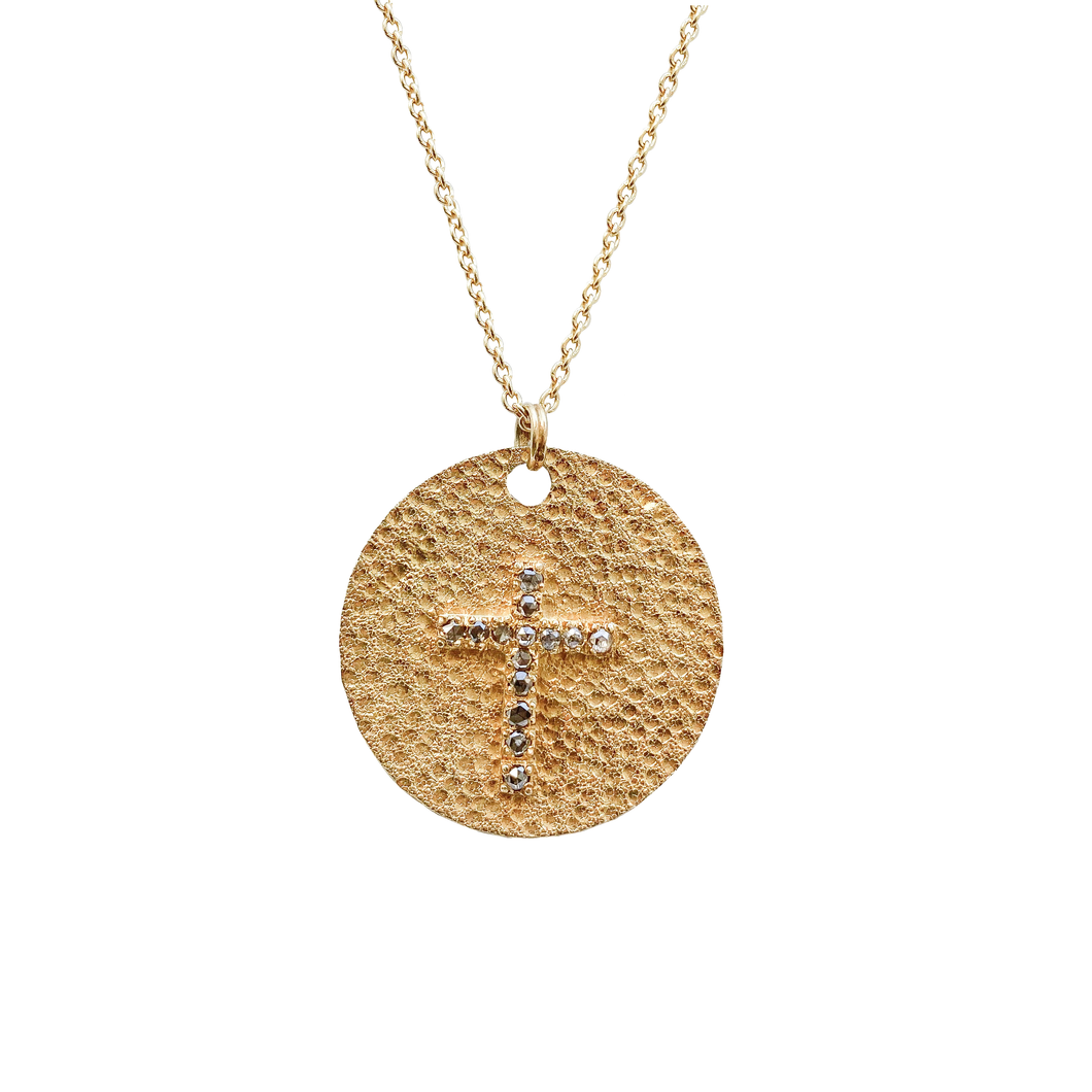 Diamond Cross on Gold Disc