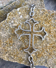 Load image into Gallery viewer, Silver Diamond Cross Bracelet