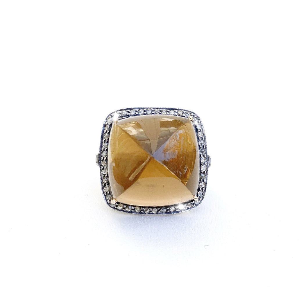 Smokey Topaz Diamond Ring