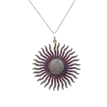 Load image into Gallery viewer, Pink Sapphire and Diamond Sunburst
