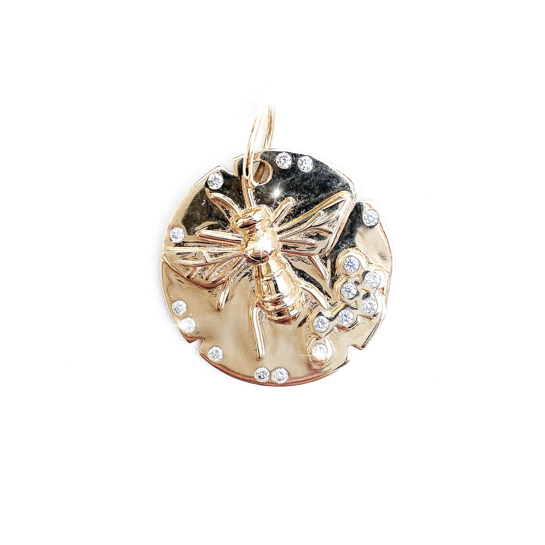 Gold Diamond Bee Pendant