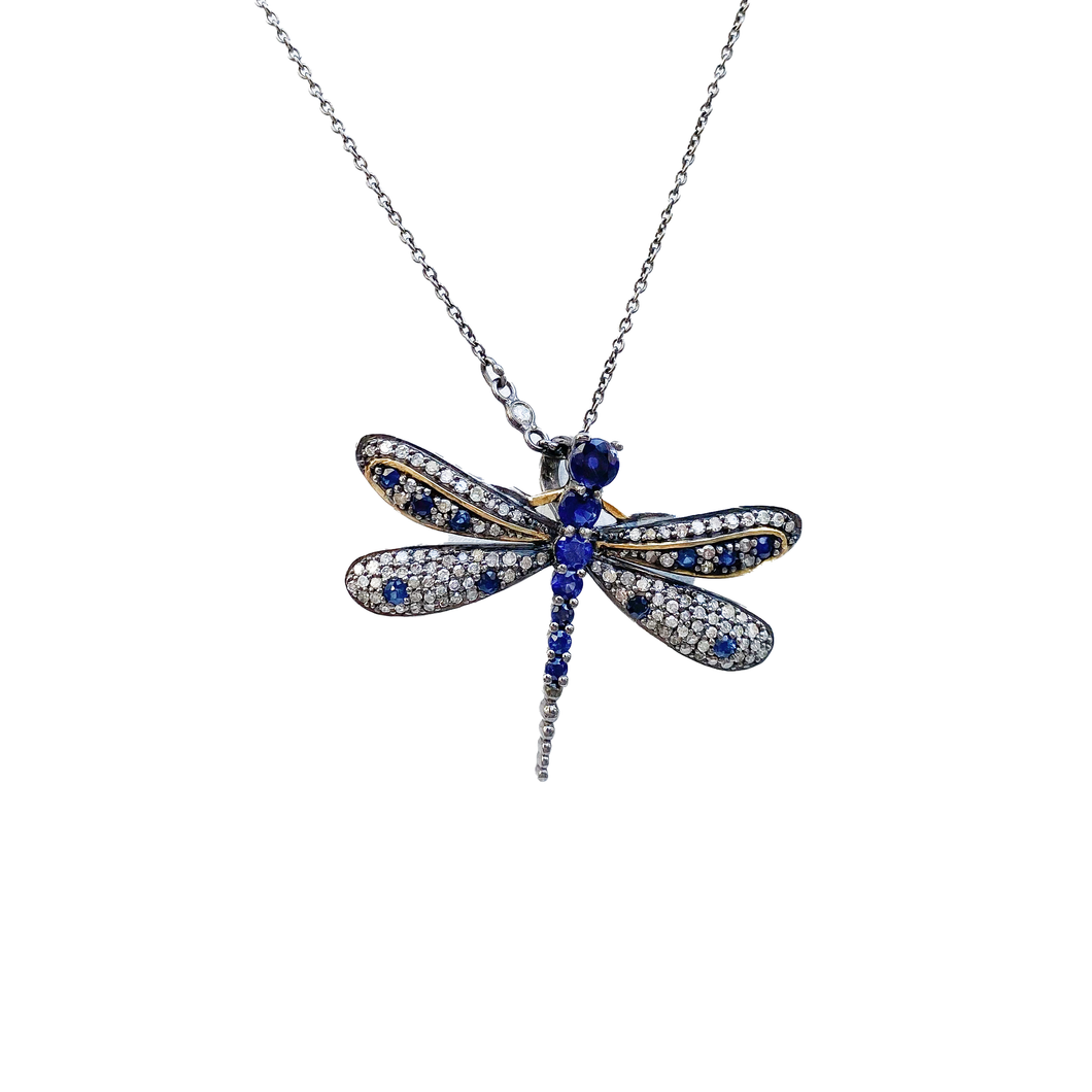 Gold Sapphire and Diamond Dragonfly Necklace