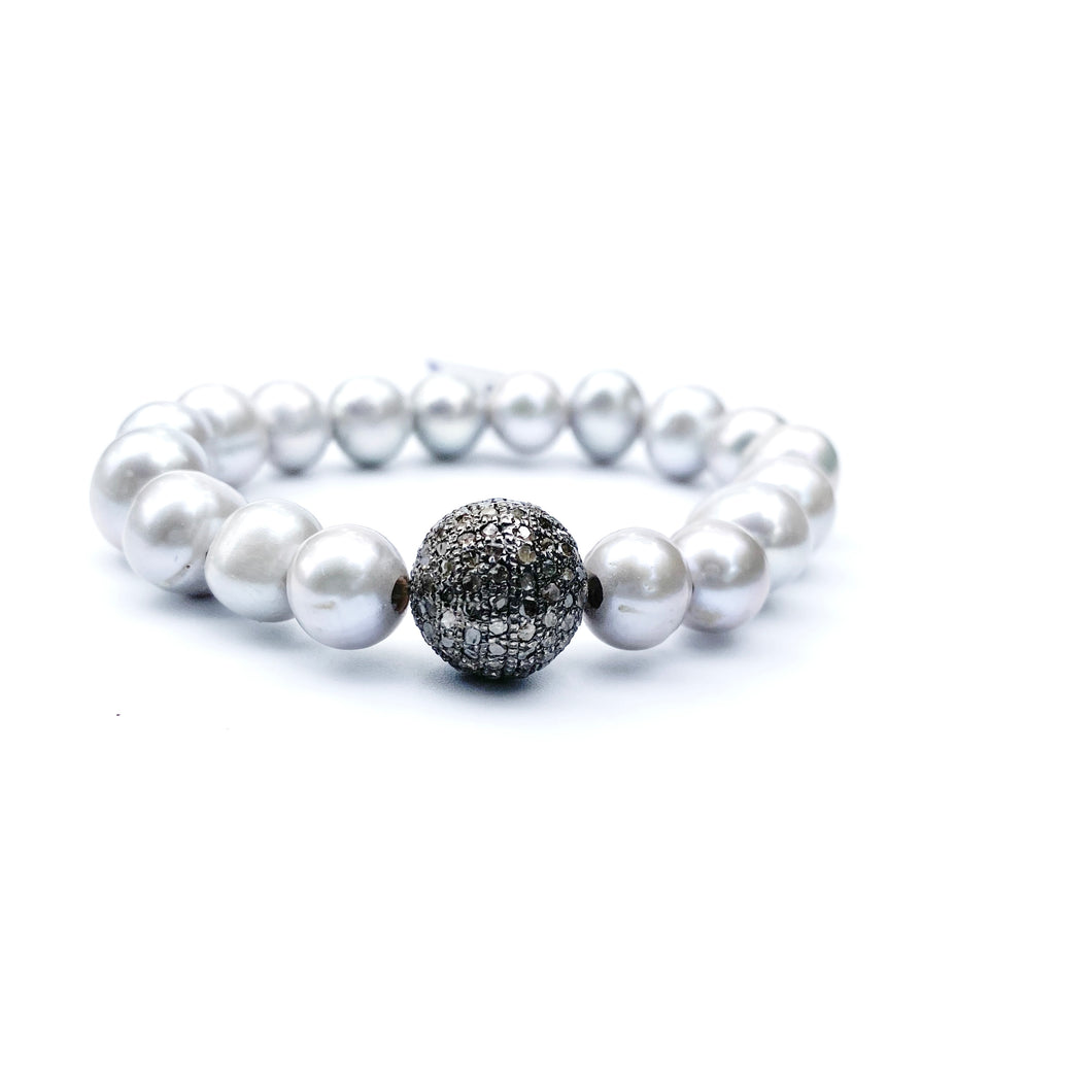 Gray Pearl Bracelet with Diamond Ball