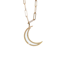 Load image into Gallery viewer, 14kg White Enamel Diamond Moon Necklace