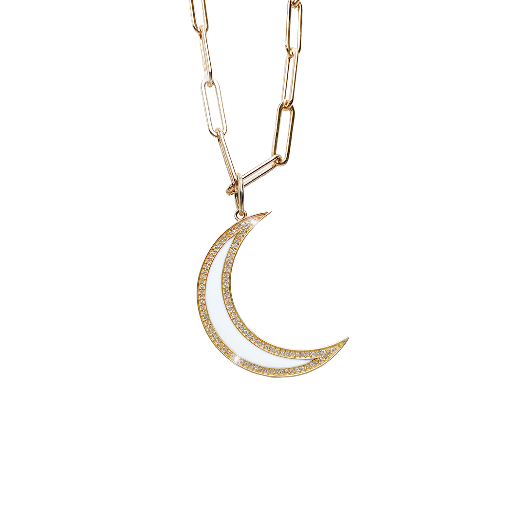 14kg White Enamel Diamond Moon Necklace