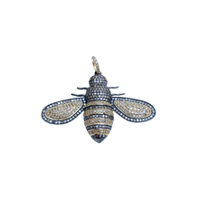 Load image into Gallery viewer, Gold Diamond and Silver Bee Pendant Large
