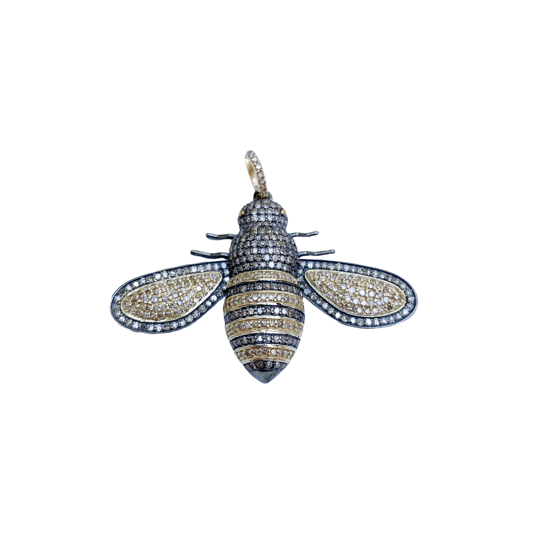 Gold Diamond and Silver Bee Pendant Large