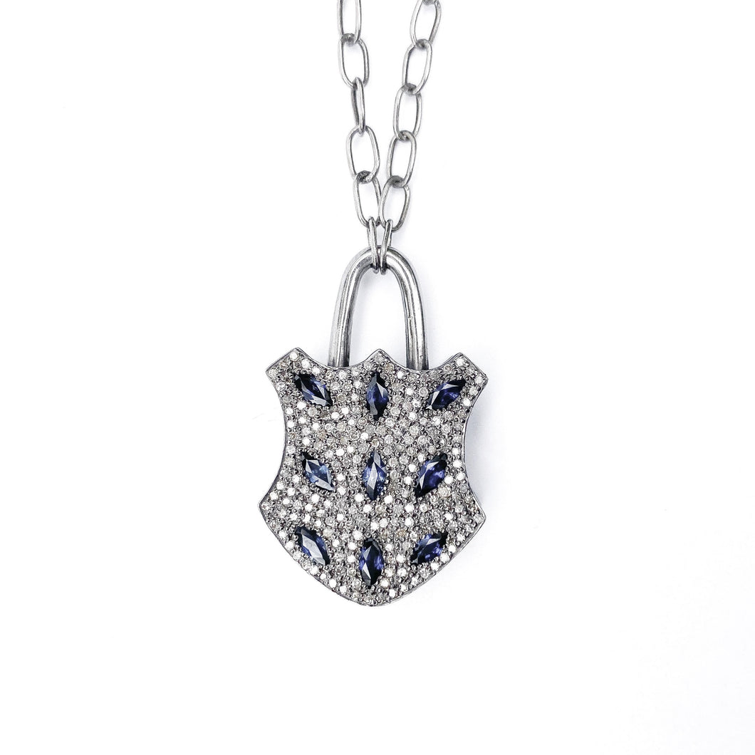 Sapphire and Diamond Lock Necklace