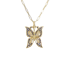 Load image into Gallery viewer, 14kg Sapphire, Diamond and Butterfly necklace