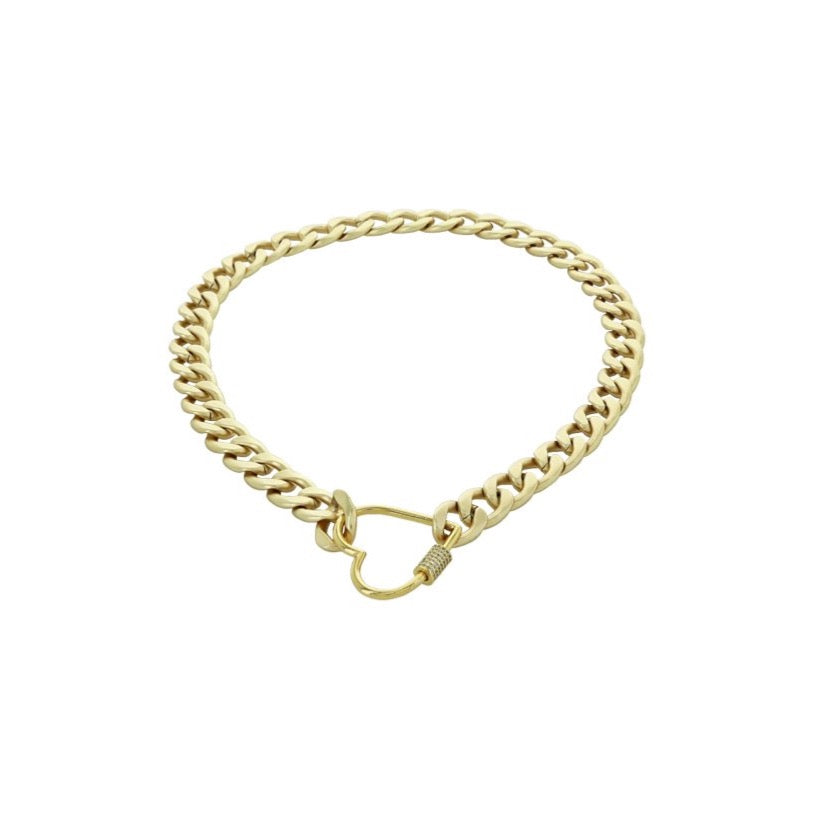 Gold with Diamond Heart Carabiner Necklace