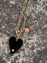 Load image into Gallery viewer, Black Enamel Heart with White Topaz