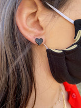 Load image into Gallery viewer, Black Heart Earrings
