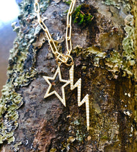 Load image into Gallery viewer, Gold, Diamond Lightening Bolt Pendant